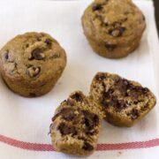 healthier banana espresso choco chip muffins