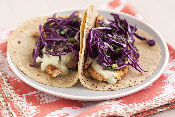 Ancho Chicken Tacos with Cilantro Slaw & Avocado Cream ...