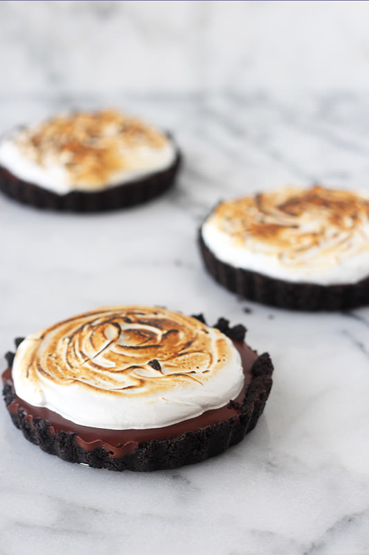 Chocolate Pudding Toasted Marshmallow Tarts by Handle the Heat