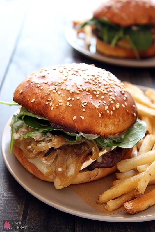 French Bistro Burgers with brie cheese, caramelized onions, arugula, and garlic mayo.