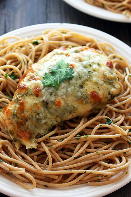 Baked Chicken Pesto Parmesan takes just 25 minutes and 4 ingredients ...