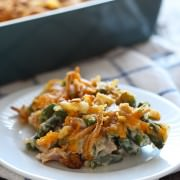 Cheesy Green Bean Casserole with Bacon - this will be a HIT on your Thanksgiving table!!